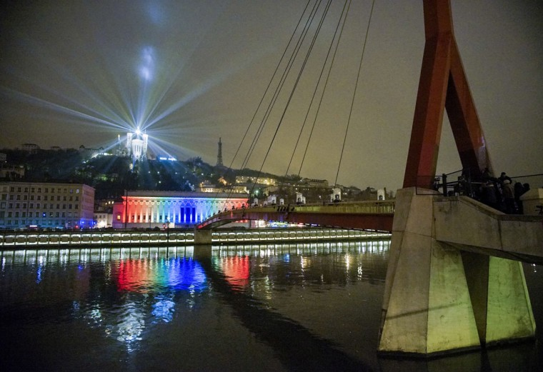 View of Hi Striker installation by Collectif Beam'Art during the rehearsal for the Festival of Lights in central Lyon late in the night on December 4, 2014. (REUTERS/Robert Pratta)