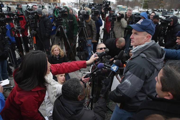 Howard County Police Chief William J. McMahon talks to reporters outside Columbia Town Center Mall following a shooting situation January 25, 2014 in Columbia, Maryland. Three people are dead after a shooting inside the mall. (Photo by Chip Somodevilla/Getty Images) ORG XMIT: 465471961