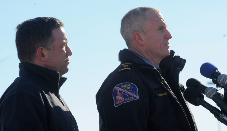 Howard County Police Chief William J. McMahon, right, and County Executive Ken Ulman address the media at a press conference the day after the shooting at the Mall in Columbia, Sunday, Jan. 26, 2014. (Photo by Algerina Perna/Baltimore Sun)