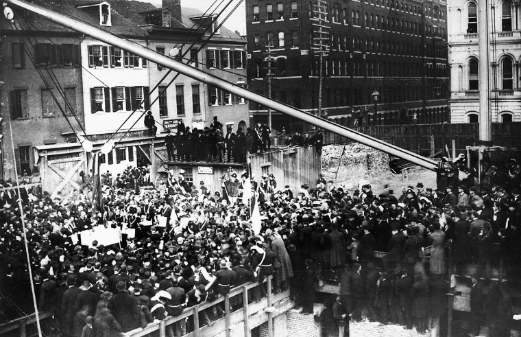 Laying the cornerstone at Calvert, Fayette on March 9, 1931.