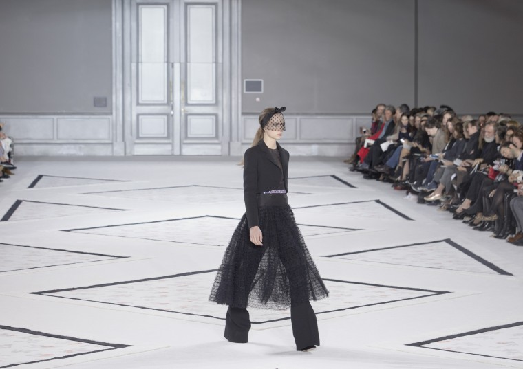 A model wears a creation for designer Giambattista Valli's Spring-Summer 2015 Haute Couture fashion collection, presented in Paris, France, Monday, Jan. 26, 2015. (AP Photo/Jacques Brinon)