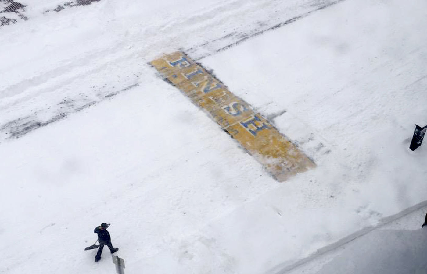 Boston Marathon Finish Line Snow