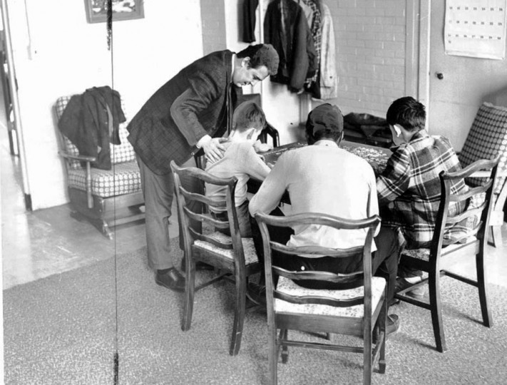 Dan Hansen, Vice Principal of the Winterode School working with patients in one of the recreation centers. Photo by Ralph L. Robinson, March 20, 1968
