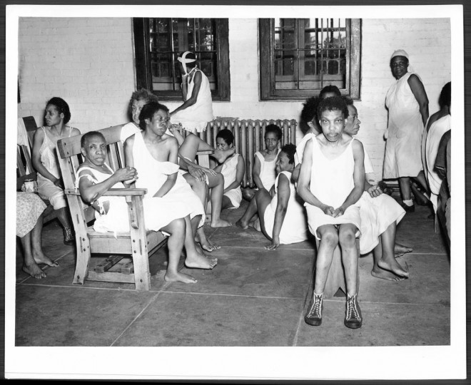 Black female patients in the Hugh Young Building. Photo by John J. Stadler, December 15, 1950