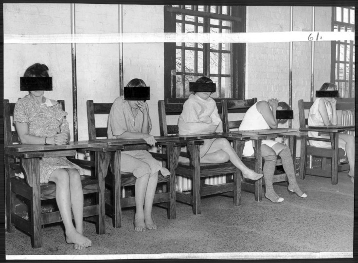 Because there are not enough attendants to keep an eye on them, these women at Springfield state hospital are confined in locked chairs day after day. They get no treatment at all. Photo by Robert F. Kniesche