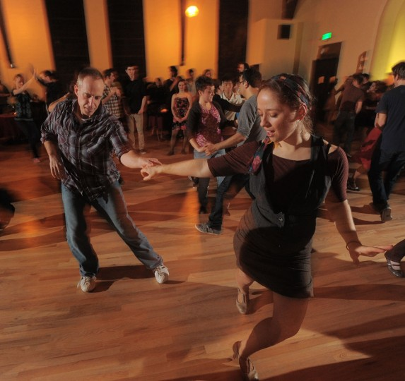 3/3/12: Karon Nicholas and Jenny Sowden show off their swing dancing skills on Friday night at the Mobtown Ballroom where quickie dance lessons are available. Photo by Doug Kapustin