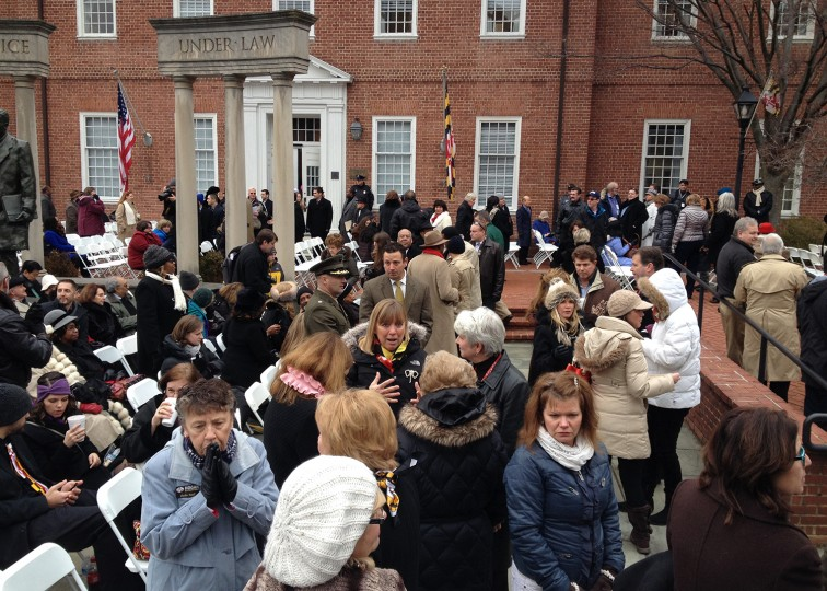 Crowds wait for the start of the Inauguration of Maryland's 62nd Governor - Larry Hogan. (Amy Davis / Baltimore Sun)