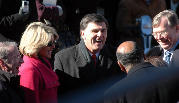 Kendel Ehrlich and outgoing Maryland Gov. Robert Ehrlich spent a lighter moment with others in the crowd during the celebration of Gov. Martin O'Malley's inauguration. (Chikai Kawajiri, Baltimore Sun file)