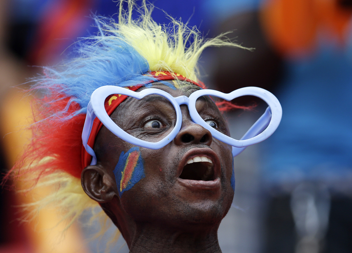 A Democratic Republic of Congo soccer fan reacts during the African Cup of Nations quarter final soccer match between Congo and DR Congo in Bata, Equatorial Guinea. (Themba Hadebe/AP Photo)