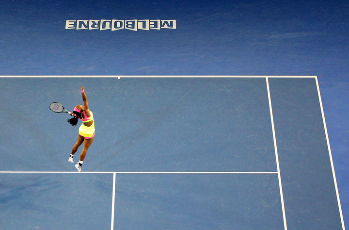 Serena Williams of the U.S. celebrates after defeating Maria Sharapova of Russia in the women's singles final at the Australian Open tennis championship in Melbourne, Australia. (Rob Griffith/AP Photo)
