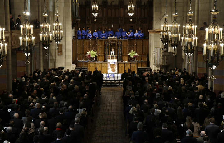 """The Chicago Cubs hold an official memorial service for Hall of Fame slugger Ernie Banks at Chicago's Fourth Presbyterian Church. Banks died Friday at 83 after a heart attack, according to an attorney representing his family. Known as """"Mr. Cub,"""" Banks is remembered as much for his boundless enthusiasm despite playing on mostly losing teams as his 512 home runs and two MVP awards. (Nam Y. Huh/AP Photo)"""