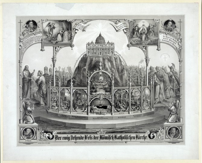 "Der ewig stehende Fels der Romisch Katholischen Kirche / lith. by A. Hoen & Co., Balto. -- c1872 -- This allegorical print, intended for an American Catholic audience, illustrates the official church response to the First Vatican Council of 1869-70, which decreed that the Pope is infallible. In the center of the image, St. Peter's Basilica rests on a massive rock--a reference to the assertion that papal authority descends from the Apostle Saint Peter. At the base of the rock are eight vignettes from the life of Christ with accompanying biblical citations. Each corner has one of the four evangelists, clockwise from left: St. Matthew, St. Mark, St. John, and St. Luke. Two vignettes frame the basilica: the Annunciation of the Angel Gabriel to Mary and Mary's Assumption into Heaven. Two vignettes frame the central image: Jesus presenting the keys to the kingdom to Peter (behind whom stand Pope Pius IX and other clerices) and Constantine showing the heavenly cross with the motto ""In Hoc Signo Vinces"" to Charles V, the Holy Roman Emperor who issued a ban against Martin Luther and Henry II. (A. Hoen & Co./Library of Congress)"