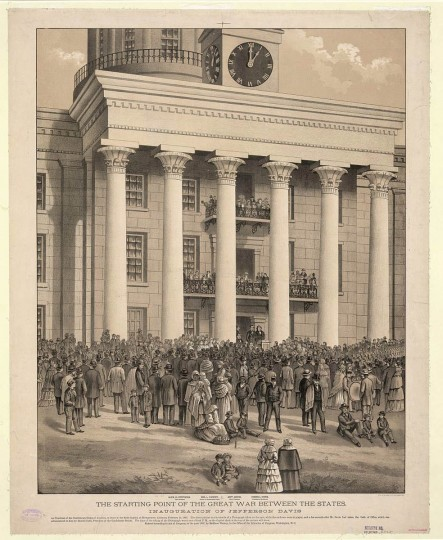 "The starting point of the great war between the states  --  c1888 --  Print shows a crowd gathered in front of the capitol building at Montgomery, Alabama, at the time of the announcement of Jefferson Davis as the first President of the Confederate States of America; also shown with Davis are ""Alex. H. Stephens, Vice-President, Wm. L. Yancey, Leader of the Secession Party, [and] Howell Cobb, President of the Senate."" (A. Hoen & Co./Library of Congress)"