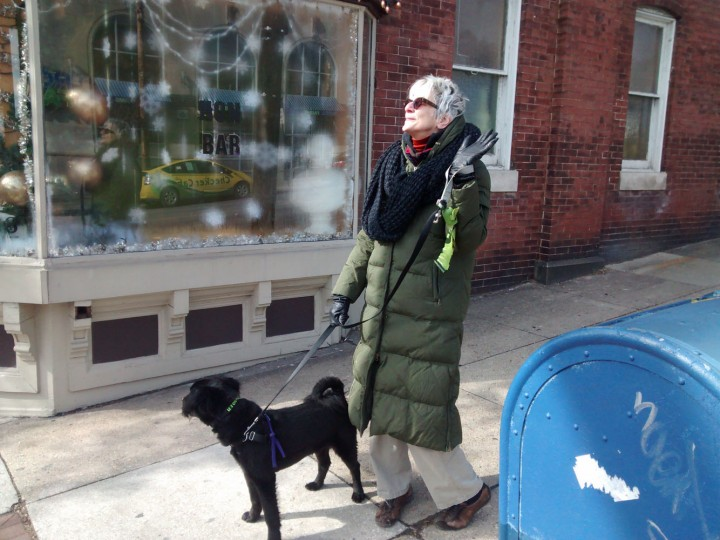 Ms. Paula , graphic designer of the Hampden Visitor's Brochure, on a fashionable walk with her pup. Not pictured, but five paces behind, Mr. Denny, photographer extraordinaire. Hampden's classiest couple.