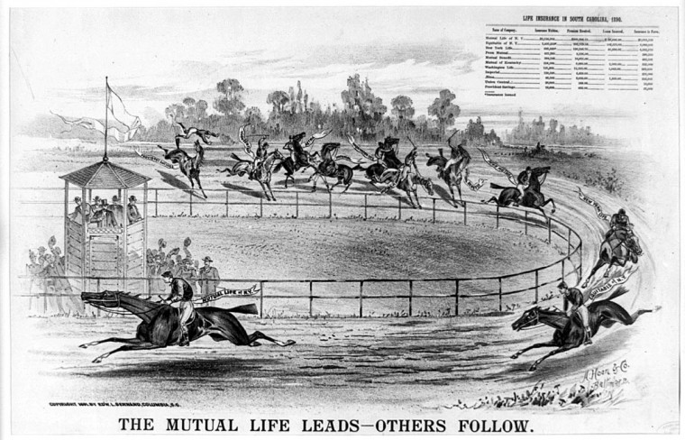 "The Mutual Life Leads - Others Follow --  1891 --  Print shows a horse race in progress at a racetrack; each horse and jockey represents a different insurance company, in the lead is ""Mutual Life of N.Y."" followed by ""Equitable of N.Y., New York Life, Penn Mutual, Mutual Benefit, Mutual of Kentucky, Washington Life, Imperial [whose jockey is standing on the ground, beating his horse], Aetna, Union Central, [and] Provident Savings"" whose horse has just thrown the jockey.  (A. Hoen & Co./Library of Congress)"