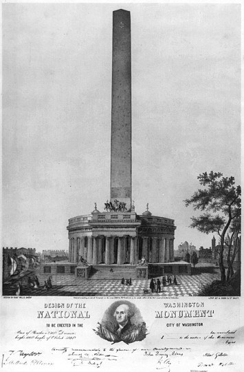 Design of the Washington National Monument to be erected in the city of Washington --  (A. Hoen & Co./Library of Congress)