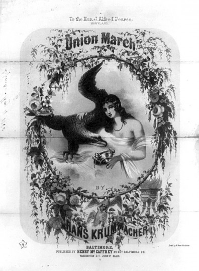 "Union March --  1860  -- An illustrated sheet music cover for a Unionist song by Hans Krummacher, dedicated to Maryland Democratic senator James Alfred Pearce. The cover is adorned with a drawing of the goddess Hebe, the mythological Greek goddess of youth and cup-bearer of Zeus. Here Zeus is present as an eagle grasping flaming thunderbolts in its talons. (See Edward Savage's ""Liberty in the Form of the Goddess of Youth,"" no. 1796-2, for an earlier pairing of Hebe with the Jovian eagle.) With her right arm around the eagle, Hebe pours a libation from an ornate golden cup. Surrounding the vignette is a floral wreath. Two doves and a flaming urn appear below. (A. Hoen & Co./Library of Congress)"