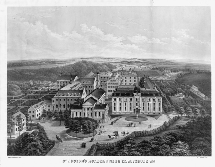 St. Joseph's Academy near Emmitsburg, Md. / from a painting by L. Enke  - [between 1870 and 1880]-  Print shows bird's-eye view of St. Joseph's Academy and surrounding countryside. (A. Hoen & Co./Library of Congress)