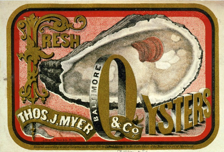 Fresh oysters--Thos. J. Myer & Co., Baltimore --  c1870. --  Advertising label, showing an opened oyster. (A. Hoen & Co./Library of Congress)