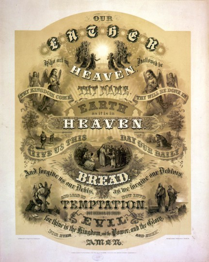 Our Father who art in Heaven ... Published: York, Pa. : H.M. Crider, publisher, c1876. --  Print shows the Lord's Prayer, ornately illustrated with biblical scenes. (A. Hoen & Co./Library of Congress)