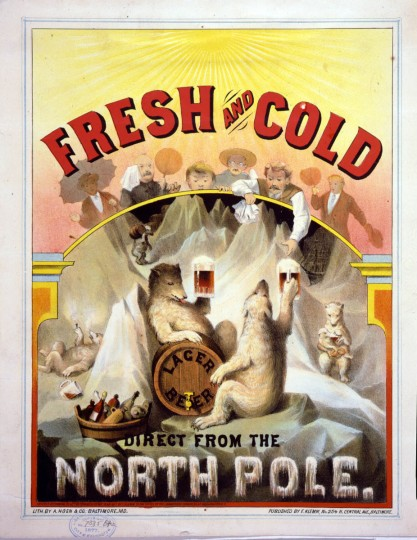 "Fresh and cold--Lager beer direct from the North Pole - c1877 --  Print shows a scene at the North Pole where polar bears are enjoying mugs of lager beer, with a trompe-lÏil effect showing overheated people, with fans and sunshades, and one man reaching into the scene for a frosty ""fresh and cold"" mug of lager beer offered to him by a polar bear. (A. Hoen & Co./Library of Congress)"