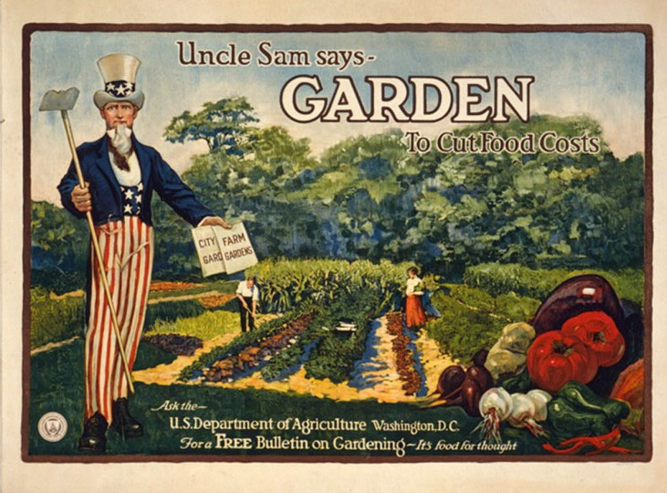Uncle Sam says - garden to cut food costs Ask the U.S. Department of Agriculture, Washington, D.C., for a free bulletin on gardening - it's food for thought. -- 1917 (A. Hoen & Co./Library of Congress)