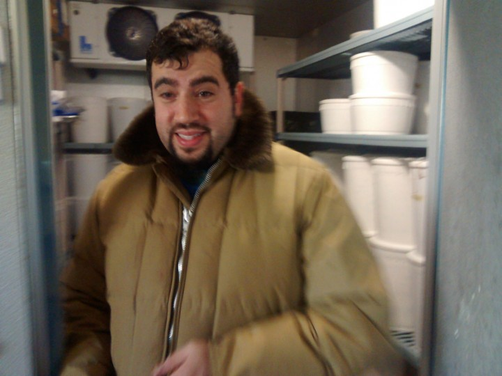 David from The Charmery in his freezer parka.
