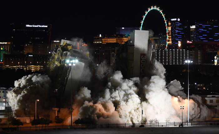 The Clarion Hotel and Casino is imploded on Tuesday in Las Vegas. It is the first casino implosion in Las Vegas since the New Frontier Hotel & Casino was brought down in 2007. The 12-story Clarion, located just off the Las Vegas Strip, opened in 1970 as the Royal Inn and changed ownership over the years becoming known by several names including the Royal Americana Hotel, The Paddlewheel Hotel Casino, the Debbie Reynolds Hollywood Hotel and the Greek Isles Hotel & Casino. The Clarion closed for good in September, and was purchased for $22.5 million by Las Vegas developer Lorenzo Doumani, who plans to turn the six-acre property into a mixed-use resort.  (Ethan Miller/Getty Images)