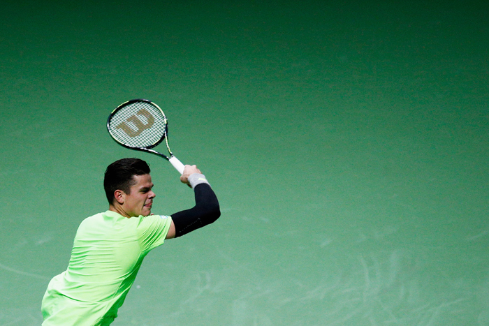 Milos Raonic of Canada in action against Andrey Kuznetsov of Russia during day 2 of the ABN AMRO World Tennis Tournament held at the Ahoy Rotterdam on Tuesday in Rotterdam, Netherlands. (Dean Mouhtaropoulos/Getty Images)