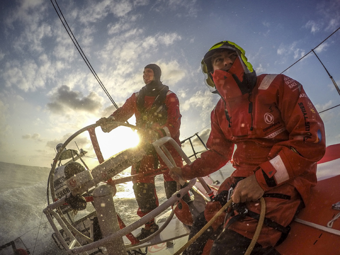 In this handout image provided by the Volvo Ocean Race onboard Dongfeng Race Team, Eric Peron and Martin Stromberg shot on a GoPro Hero4 Black during Leg 4 from Sanya to Auckland on Sunday in Sanya, China. The Volvo Ocean Race 2014-15 is the 12th running of this ocean marathon. Starting from Alicante in Spain on October 4, the route, spanning some 39,379 nautical miles, visits 11 ports in 11 countries over nine months. The Volvo Ocean Race is the world's premier ocean yacht race for professional racing crews. (Sam Greenfield/Dongfeng Race Team/Volvo Ocean Race via Getty Images)