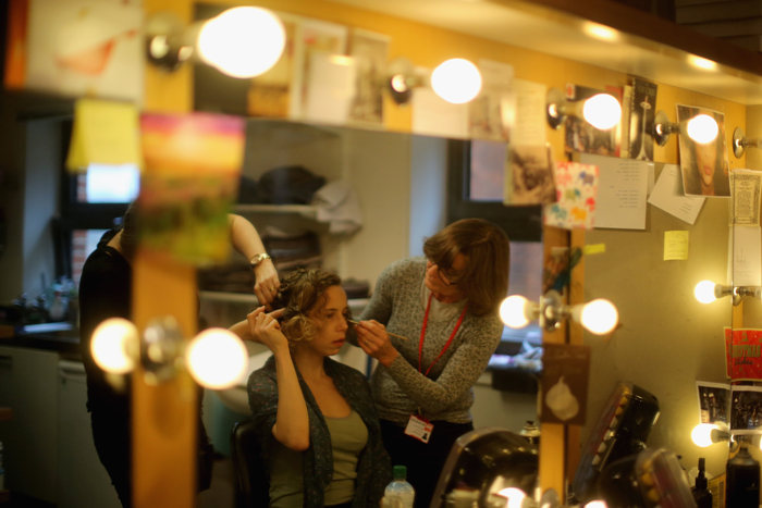 RSC actress Michelle Terry as Rosaline has her wig and make-up applied before the start of the matinee performance of Love's Labour's Lost on Tuesday in Stratford-upon-Avon, England. The latest production of Shakespeare's Loves Labours Lost is set on the eve of the First World War and is to be screened by satellite live to cinemas across the world on Wednesday. Directed by Christopher Luscombe, the play is part of a season marking the centenary of the First World War. (Christopher Furlong/Getty Images)