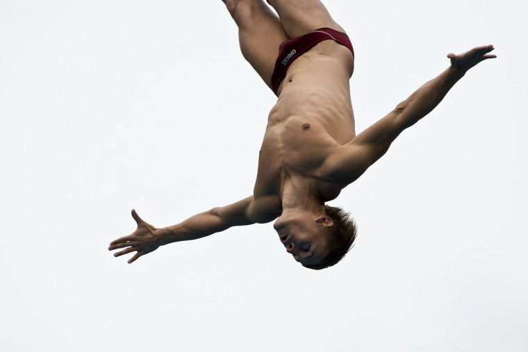 Ukrainian Anatoliy Shabotenko dives from the 27-meter-high platform during the Red Bull Qualifier Cliff Diving World Series 2015 at the Pools Hernando Botero O'Byrne in Cali, department of Valle del Cauca, Colombia, on February 7, 2015. Luis Robayo/AFP/Getty Images