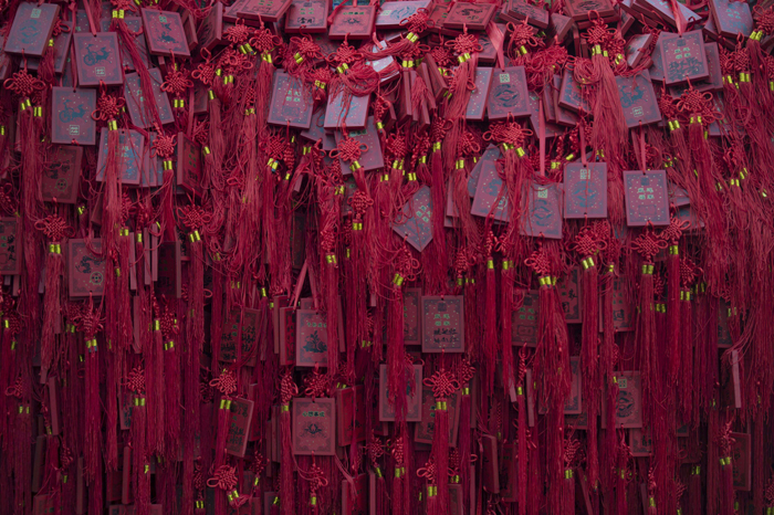 Chinese amulets are hung around a tree at Dongyue Temple Fair during Chinese Lunar New Year celebrations in Beijing on Tuesday. Millions of Chinese are celebrating the Spring Festival, the most important holiday on the Chinese calendar, which this year marks the beginning of the Year of the Sheep. (FRED DUFOUR/AFP/Getty Images)
