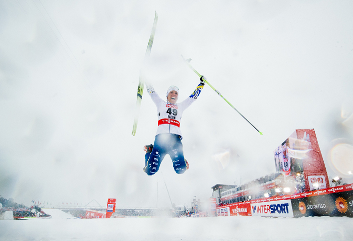 Sweden's Charlotte Kalla jumps to celebrate winning the 10 km Ladies competition at the 2015 FIS Nordic World Ski Championships in Falun, Sweden, on Tuesday. (JONATHAN NACKSTRAND/AFP/Getty Images)
