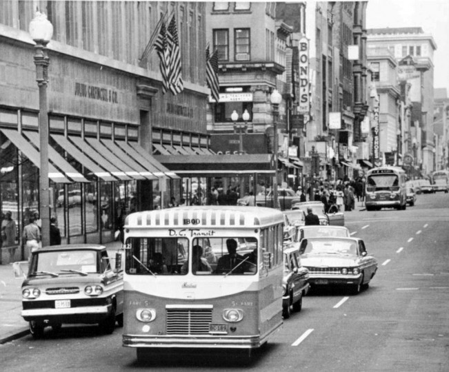 Nov. 4, 1963: One of the few things a nickle would buy: A ride on D.C. Transit's new Minibus, shown on one of its inaugural runs through the business district in the capital. (AP)