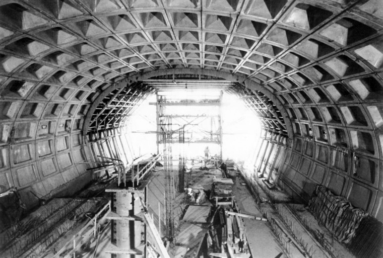 Sept 14, 1973: Honey-comed, concrete forms provide support for this station on the Washington Metro System. The wall design uses orderly recessed panels, with the depth of recession progressing from only inches at the floor to about two feet at the top of the arch. (Sun file photo)