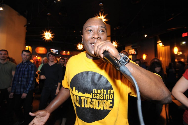 Cedric Teamer with Rueda de Casino Baltimore gives a salsa lesson in partnership with Sentimiento Latin Dance Company. This is the last Monday night salsa party at Talara, where a group of devoted salsa dancers has been meeting for years. (Algerina Perna/Baltimore Sun)