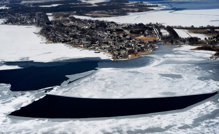 Ice and snow surround Kent Island on the Chesapeake Bay. (Lloyd Fox/Baltimore Sun)
