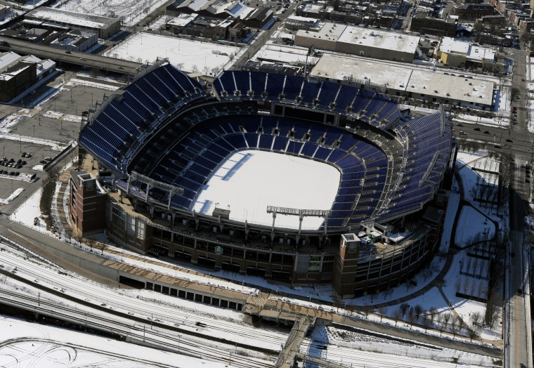 Snow covers the playing field inside M&T Bank Stadium, home of the Baltimore Ravens. (Lloyd Fox/Baltimore Sun)