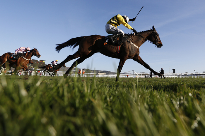 Paul Townend riding Glens Melody wins The OLBG Mares' Hurdle Race at Cheltenham racecourse on Tuesday in Cheltenham, England. (Alan Crowhurst/Getty Images)