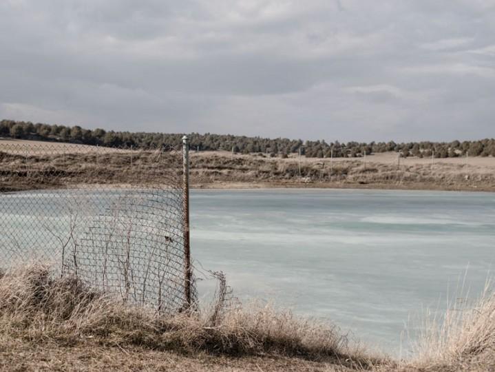 A frozen pond is seen outside the village of Iruecha on Feb. 24 near Molina de Aragon, Spain. (David Ramos/Getty Images)