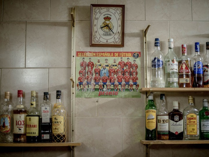 A picture of the Spain Footbal National Team hangs on a wall at the bar of the village of Anquela del Ducado on Feb. 23 near Molina de Aragon, Spain. (David Ramos/Getty Images)