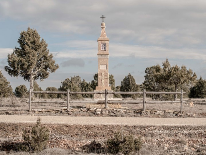 A small chapel is seen next to the a road outside the village of Codes on Feb. 14 near Molina de Aragon, Spain. (David Ramos/Getty Images)