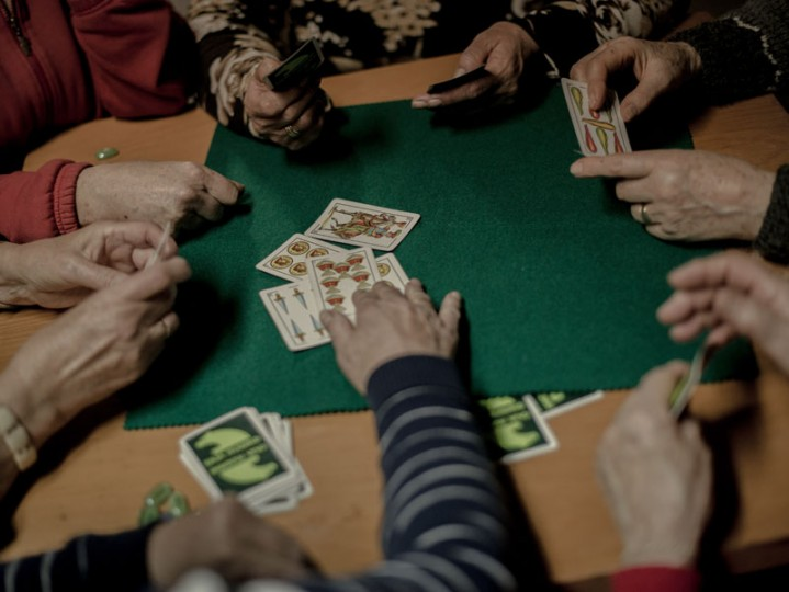 Women play cards at the old schools of the village of Anquela del Ducado on Feb. 23 near Molina de Aragon, Spain. Population over 65 years represents 41 percent of the population whereas the population under 15 years is less then the 8 percent. (David Ramos/Getty Images)