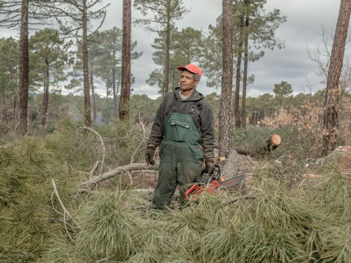 Carlos Valencia, 48, poses for a portrait as he chops pines near the village of Cobeta on Feb. 24 near Molina de Aragon, Spain. Sawmills and resin were the main industries for most of last century. The last sawmill shut down in 1980. (David Ramos/Getty Images)