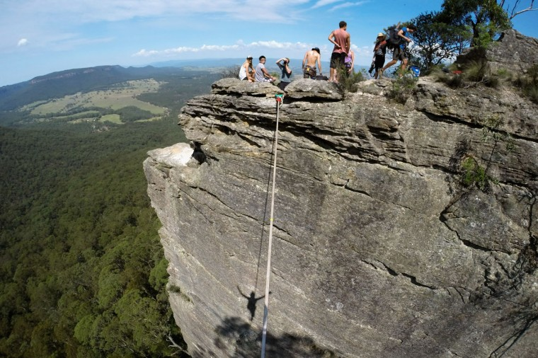A point of view as seen by Joseph Huard of Canada as he walks on a highline rigged between cliffs at Corroboree Walls in Mount Victoria on March 8, 2015 in the Blue Mountains, Australia. (Photo by Cameron Spencer/Getty Images)