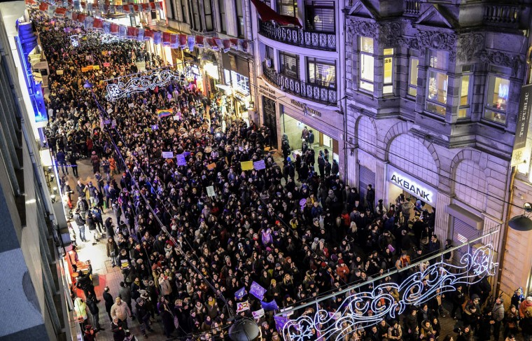 Turkish women march on March 8, 2015 on Istiklal avenue in Istanbul to mark International Women's Day. (Bulent Kilic/AFP/Getty Images)