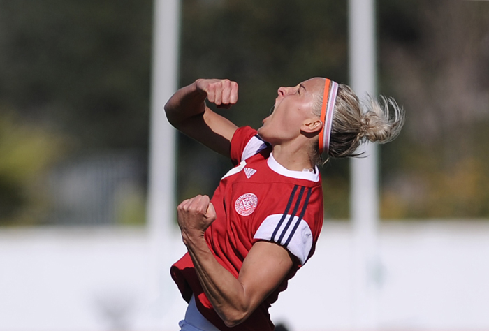 Denmark midfielder Sanne Troelsgaard celebrates after scoring during an Algarve Cup soccer match Monday against Portugal at the Estadio Municipal in Albufeira, Portugal. (CRISTINA QUICLER/AFP/Getty Images)