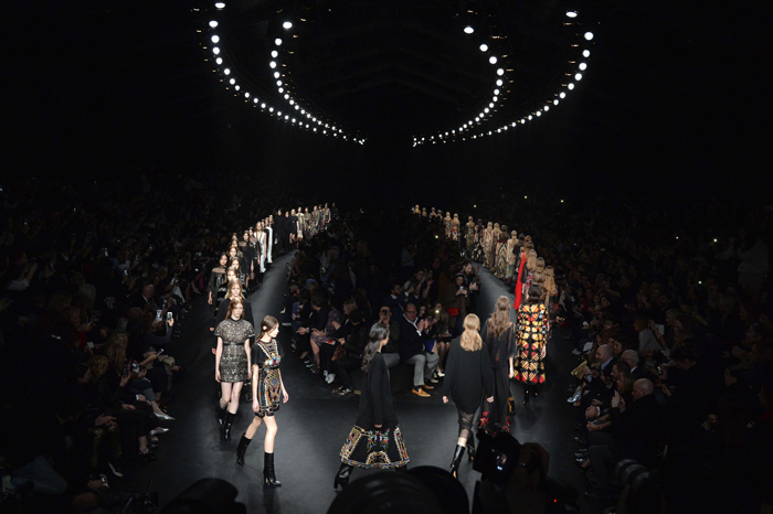 Models present creations for Valentino during the 2015-16 fall/winter ready-to-wear collection fashion show on Tuesday in Paris. (MIGUEL MEDINA/AFP/Getty Images)
