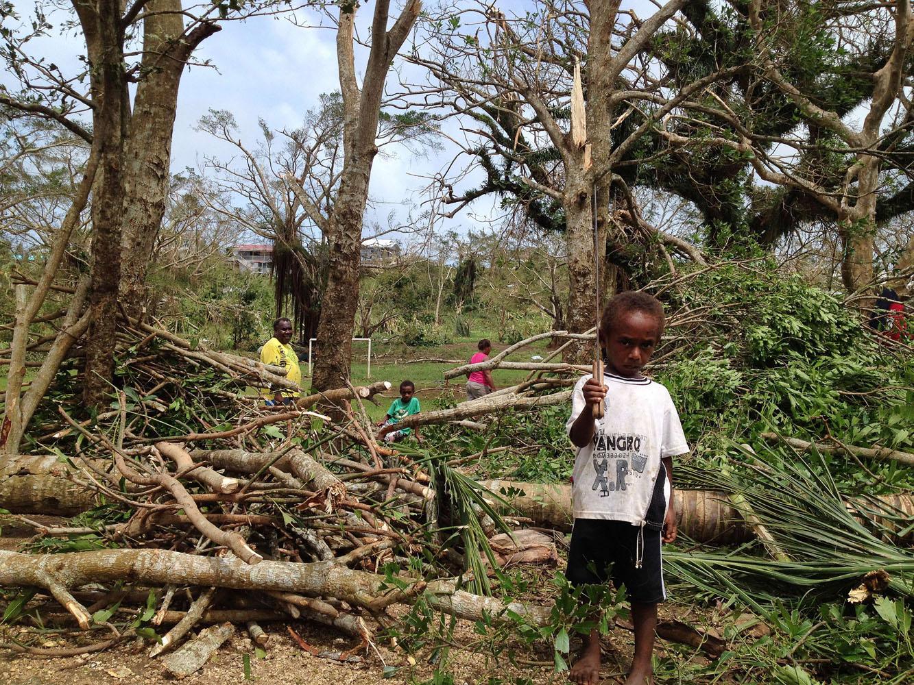 Cleaning up Cyclone Pam's destruction in Vanuatu